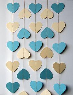 MA Heart garland - Blue and cream heart garland - Paper garland - Blue cream garland - Wedding decor - Baby shower decor KCO-0052 by TransparentEsDecor