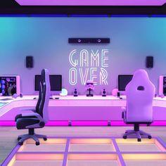 Living Room Gaming Setup, Computer Gaming Room, Gaming Rooms, Boys Game Room, Small Game Rooms, Video Game Rooms, Video Games, Game Room Design, Studio Room
