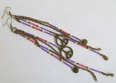 Boho Seed Bead Charm Earrings Purple/Coral by pattimacs on Etsy