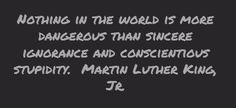 Nothing in the world is more dangerous than sincere ignorance and conscientious stupidity.   Martin Luther King, Jr.