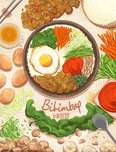 an art print by Brenna Lindblad Han A food illustration about the Korean dish Bibimbap.A food illustration about the Korean dish Bibimbap. Korean Dishes, Korean Food, Korean Art, Pinterest Instagram, Food Instagram, Food Cartoon, Cartoon Quotes, Food Sketch, Watercolor Food