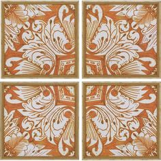 Beautiful Pumpkin Color Tile Wall Decor.