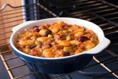 Casserole Recipe: Baked Five-Bean Hotdish - this would be good and veg for me without the bacon!