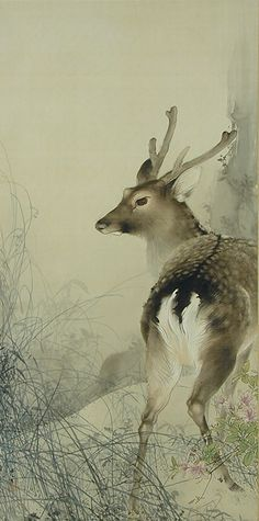Takeuchi Seiho, Deer Playing in Balmy Breeze, Japanese painting, Ancient Japanese art, Painting Repr Japanese Painting, Chinese Painting, Chinese Art, Art And Illustration, Illustrations, Botanical Illustration, Ancient Japanese Art, Art Chinois, Art Asiatique