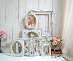 Vintage ornate frame collection refinished in antique white and gold. Shabby Chic Cottage, Shabby Chic Decor, Rustic Vintage Decor, Painted Picture Frames, Hanging Pictures, Vintage Frames, White Decor, Inspired Homes, Nursery Decor