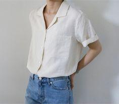White linen button up shirt