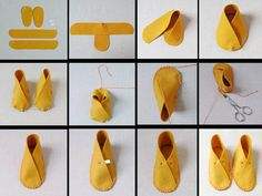 How To Make Moccasins For Dolls Making moccasins for dolls (or bears, or even children) might be a good project when studying Native Americans. How To Make Moccasins, How To Make Shoes, Fabric Crafts, Sewing Crafts, Sewing Projects, Diy Projects, Baby Booties, Baby Shoes, Felt Shoes