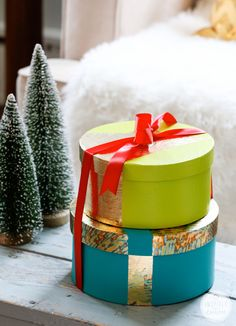 DIY Gold-Leafed Holiday Boxes Here's what you'll need to make them: paper-mache boxes (available at any craft store) craft paint gold leaf s...
