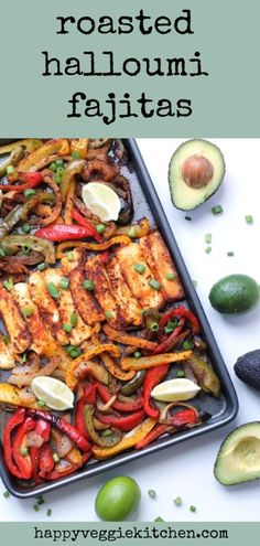 Thanks to its robust, grill-able texture, halloumi cheese is so much fun to cook with and makes the best vegetarian fajita filling! In this recipe, halloumi is seasoned and roasted in the oven with veggies to make easy vegetarian sheet pan fajitas. Vegetarian Fajitas, Vegetarian Cooking, Easy Vegetarian Dishes, Vegetarian Roast Dinner, Vegetarian Diets, Vegetarian Barbecue, Grilling Recipes, Cooking Recipes, Cooking Tips