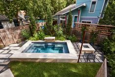 Small Backyard With Grand Plunge Pool Terraced Backyard, Small Backyard Landscaping, Backyard Retreat, Backyard Ideas, Outdoor Ideas, Spool Pool, Pools For Small Yards, Backyard Renovations, Pool Installation