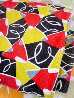 Vintage Mid Century French Abstract Design Fabric