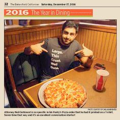 Did you catch the Dining Guide in this Saturday's #Bakersfield Californian? Chain | Cohn | Stiles #attorney Neil Gehlawat gave his favorite meal orders locally, including one written on his shirt.