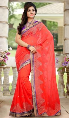 Red Embroidered Faux Georgette Sari