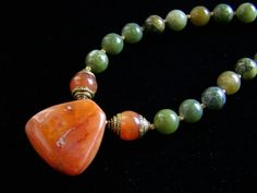 Green Jade and Old African Carnelian Necklace , Handmade Tribal Jewelry on Etsy, Sold