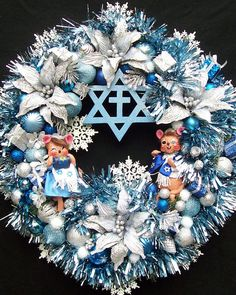 Fascinating interfaith specialness: HAPPY HANUKKAH Holiday Christmas Wreath with Annalee Hanukkah Mice
