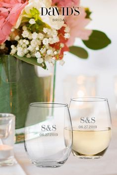 Raise a glass to a wedding day full of amazing memories. Personalize your toast-worthy favors at David's Bridal.