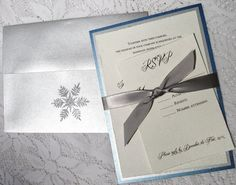 Winter Wedding Invitations silver snowflake by everafterpapery, $4.25