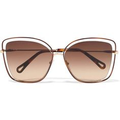 Chloé Poppy cat-eye acetate and gold-tone sunglasses ($395) ❤ liked on Polyvore featuring accessories, eyewear, sunglasses, brown, tortoise shell sunglasses, cateye sunglasses, tortoiseshell cat eye sunglasses, cat-eye glasses and oversized cat eye sunglasses