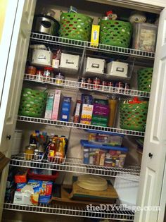 Dollar tree pantry organization-  I would tag the baskets.  Do on a much smaller scale for my pantry.