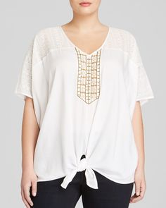 Karen Kane Plus Size Fashion Coronado Beaded Tie Front Top available from Bloomingdales #Plus_Size_Lace #Coronado #White #Lace #Inset #Beaded #Tie_Front #Top #Fashion #Plus #Plus_Size #Plus_Size_Fashion #Bloomingdales