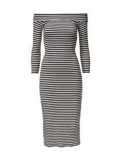 Raidallisessa ribbimekossa on avara pääntie, jonka voi laskea yli olan. Kapealinjaisen mekon hihat ovat vajaamittaiset. Mekon pituus koossa S on 106 cm. <br><br...
