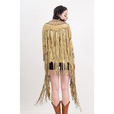 Vintage suede fringe jacket / 1960s incredible beaded lace front tunic / Woodstock era / Extra long fringe / Love beads / XS