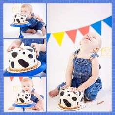 Cowboy themed smash cake cow print overalls first birthday photo shoot