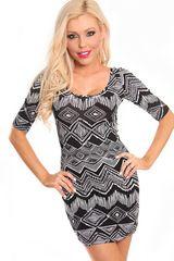 black & white tribal print 3/4 sleeves dress :clothes : dresses