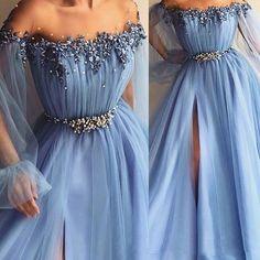 Sky Blue Prom Dresses Appliques Bead ONE Line Jewel Poet Long Sleeves Formal Evening Dresses Split Front vestidos de fiest Prom Dresses With Sleeves, A Line Prom Dresses, Prom Dresses Online, Cheap Prom Dresses, Formal Evening Dresses, Women's Dresses, Elegant Dresses, Strapless Dress Formal, Nice Dresses