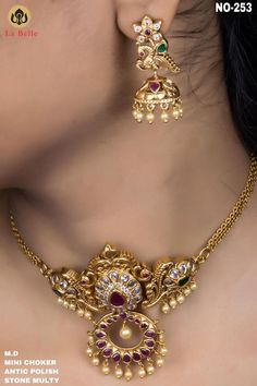 Jewelry OFF! Stunning one gram gold choker with matching earrings. Choker studded with multi color czs. Gold Necklace Simple, Gold Jewelry Simple, Gold Choker Necklace, Indian Gold Necklace, Indian Gold Jewellery, Gold Chocker, 1 Gram Gold Jewellery, Golden Jewelry, India Jewelry