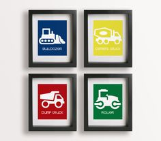 Construction Site Nursery Art Prints (set Of Four) - Nursery Decor, Truck Art…