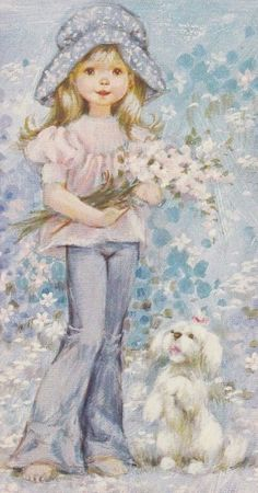 golden doodle pup, girl holding fresh flowers posed like this Sara Key Imagenes, Sara Kay, Heart Illustration, Decoupage Vintage, Holly Hobbie, Colorful Paintings, Cute Dolls, Fabric Painting, Pretty Pictures