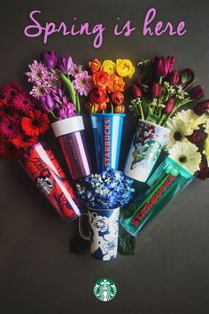 The 2016 Spring Mug Collection is available in stores and online. Cold Cup Tumblers, Double-Wall Traveler Mugs, Ceramic Mugs, and more–all with colorful spring-inspired designs.
