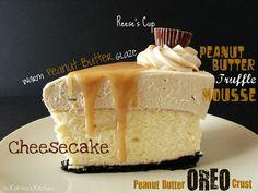 Peanut Butter Truffle Mousse Cheesecake #recipe from @KatrinasKitchen