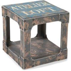 Aurelle Home Industrial Side Table Blue