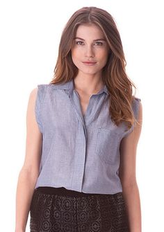 Sam Edelman Collared Button Down Blouse -  Create a casually chic look with this button-down blouse! Crafted with pin stripes and front buttons, it's perfect to tuck into your favorite short or skirt for a great ensemble.