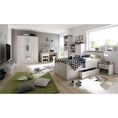 Jugendzimmer Mit Bett 90 X 200 Cm Pinie Weiss/ Trüffel Woody 62 00208