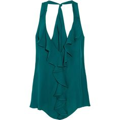 Haute Hippie Ruffled silk-georgette halterneck top (5.455 RUB) ❤ liked on Polyvore featuring tops, shirts, tank tops, tanks, emerald, halter tank, ruffle shirt, teal shirt, open back tank top and loose tank tops