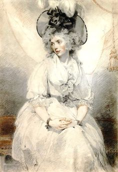 Sir Thomas Lawrence  Mary Hamilton (1789)  This important drawing of Mary Hamilton is arguably the most beautiful female portrait of its type remaining in England. Lawrence was great friends with William Hamilton (1751-1801), a history and portrait painter and Royal Academician. They used to draw together in the evenings from antique casts while William's wife Mary read to them 'either poetry, history, or works of the imagination'. This portrait was exhibited at the Royal Academy