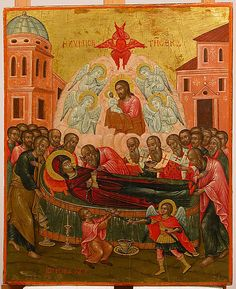 The Dormition of the Virgin Ioannes Mokos (Greek, active Medium: Tempera and oil on wood, gold ground Dimensions: 13 x 11 in. Fine Art Prints, Canvas Prints, Framed Prints, Greek Icons, Byzantine Icons, Byzantine Art, European Paintings, Orthodox Icons, Heritage Image