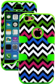 Amazon.com: myLife (TM) Lime Green + Colorful Chevron 3 Layer (Hybrid Flex Gel) Grip Case for New Apple iPhone 5C Touch Phone (External 2 Pi...