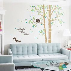 Baby nursery Large Family Tree vinyl wall decal, home decor sticker with quote - NT008