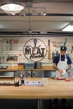 Check out the Meat Hook for an awesome, carnivorous bite! For all you need from A-Z, stop by at a Duane Reade near you. Restaurant Kitchen, Restaurant Design, Butcher Store, Carnicerias Ideas, Meat Store, Supermarket Design, Meat Markets, Food Retail, Farm Shop