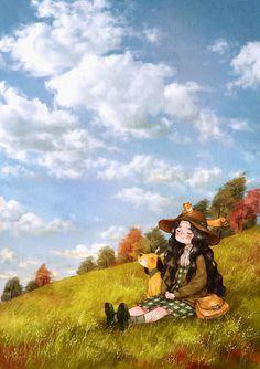 눈을 감으면 더욱 선명한 푸른 하늘.  가을이 내 위로 가만히 내려앉아요.  The blue sky becomes even clearer when I close my eyes.  Autumn falls and sits just above me.