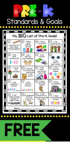 Pre-K Goals Chart - FREEBIE — Keeping My Kiddo Busy My kindergarten incentive kit has been such a hit, I went ahead and created one for my Pre-K friends. We all know as teachers that the standards drive our instruction, but getting our students exci… Preschool Assessment, Kindergarten Readiness, Preschool At Home, Preschool Kindergarten, Kindergarten Checklist, Kindergarten Portfolio, Preschool Teachers, Preschool Bulletin, Preschool Learning Activities