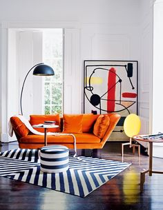 Vintage Decor Living Room Bold furniture does all the work in this living room – we adore this Flexform orange sofa. Image: Livingetc - How to make your home a pop-art-tastic space 2018 Interior Design Trends, Interior Design Inspiration, Home Design, Home Interior Design, Interior Decorating, Room Interior, 1980s Interior, Design Art, Interior Ideas