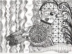 peace dove zentangle inspired art