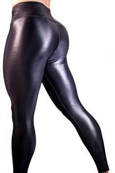 Blue Banana Argent Antique Wet Look Faux Cuir Femme Stretch Leggings//Pantalon