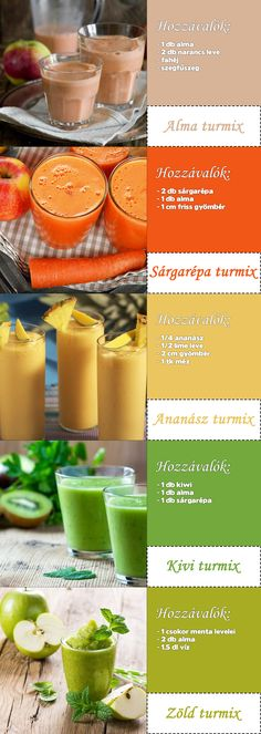 Egyszerű gyümölcs és zöld turmix receptek #turmix #zöldturmix Detox Drinks, Healthy Drinks, Healthy Snacks, Healthy Recipes, Fresh Juice Recipes, Helathy Food, Smoothie Recipes, Food Inspiration, Healthy Lifestyle