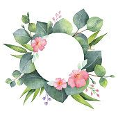 Photo Watercolor round wreath with eucalyptus leaves and branches.Watercolor round wreath with eucalyptus leaves and branches. Wreath Watercolor, Watercolour Painting, Watercolor Flowers, Illustration Blume, Eucalyptus Leaves, Eucalyptus Wreath, Arte Floral, Floral Illustrations, Flower Frame